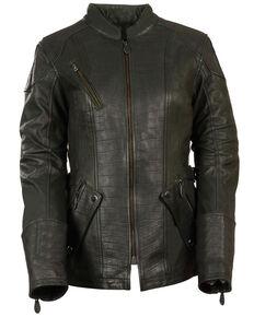 Milwaukee Leather Women's 3/4 Gator Print Motorcycle Leather Jacket, Black, hi-res