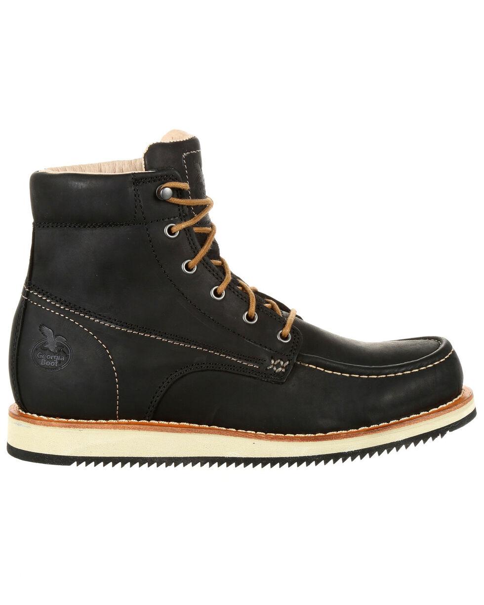 Georgia Boot Men's Small Batch Wedge Boots - Moc Toe, Black, hi-res
