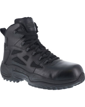 "Reebok Women's Stealth 6"" Lace-Up Side Zip Work Boots - Composition Toe, Black, hi-res"