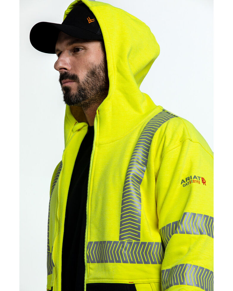 Ariat Men's FR Hi-Vis Full Zip Work Hooded Jacket , Bright Yellow, hi-res