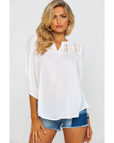 8bdbe86943f30 Panhandle Women s Red Label Notched Dobby Peasant Top