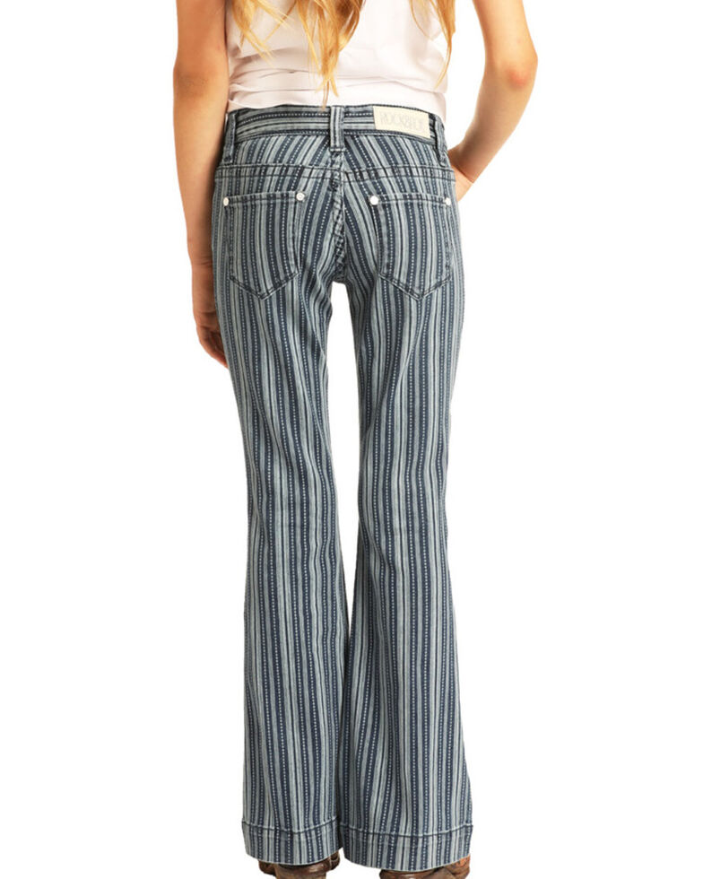 Rock & Roll Denim Girls' Stripe Trousers, Multi, hi-res