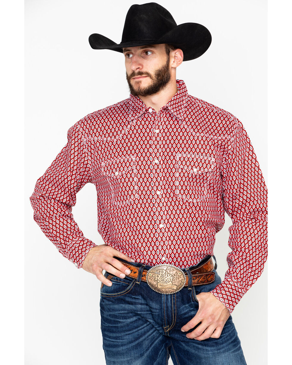 Wrangler 20X Men's Red Competition Advancaed Long Sleeve Western Shirt, Black/red, hi-res