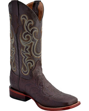 Ferrini Embossed Tooled Western Boots - Square Toe, Chocolate, hi-res