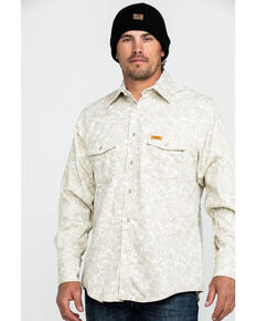 Wrangler 20X Men's FR Paisley Print Long Sleeve Work Shirt - Tall , Tan, hi-res