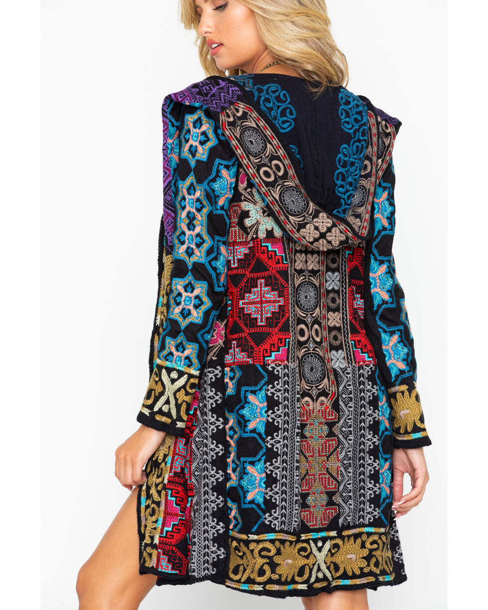 Johnny Was Women's Tulum Hooded Embroidered Long Sleeve Duster , Brown, hi-res