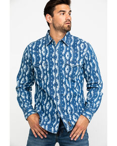 Wrangler Retro Men's Indigo Aztec Print Long Sleeve Western Shirt , Blue, hi-res