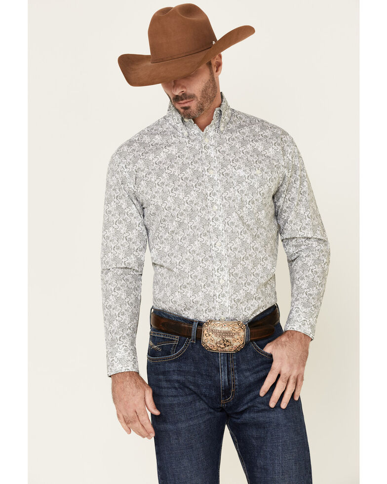 George Strait By Wrangler Men's White Paisley Printed Long Sleeve Western Shirt , White, hi-res