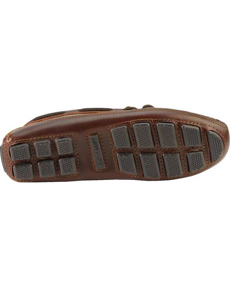 Men's Minnetonka Double Bottom Cowhide Driving Moccasins - XL, Dark Brown, hi-res