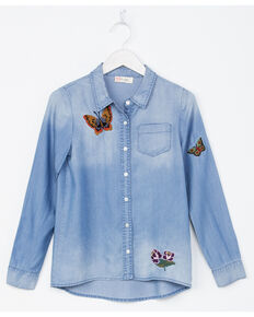 Miss Me Girls' Indigo Butterfly Embroidery Denim Shirt , Indigo, hi-res