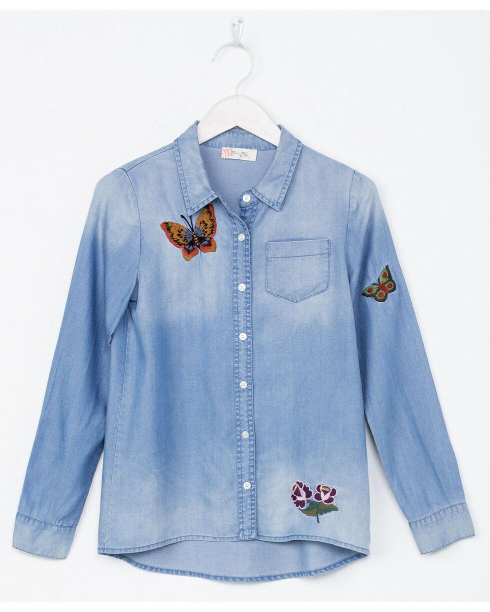 Miss Me Girls' Indigo Butterfly Embroidery Denim Shirt , Indigo, hi-res