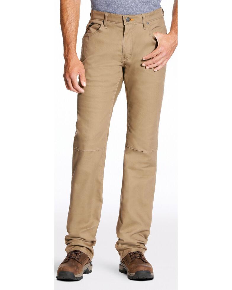 Ariat Men's Rebar M4 Stretch Canvas Straight Leg Work Pants - Big , Beige/khaki, hi-res