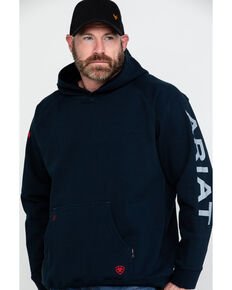 Ariat Men's Navy FR Primo Fleece Logo Hooded Work Sweatshirt - Tall , Navy, hi-res
