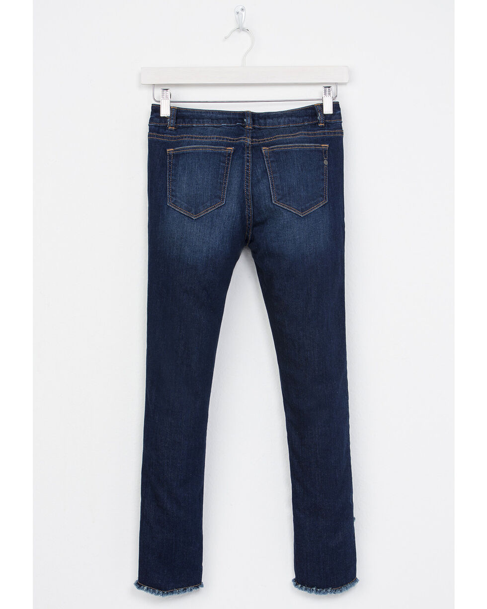 Miss Me Girls' A-Frayed Not Ankle Skinny Jeans, Indigo, hi-res
