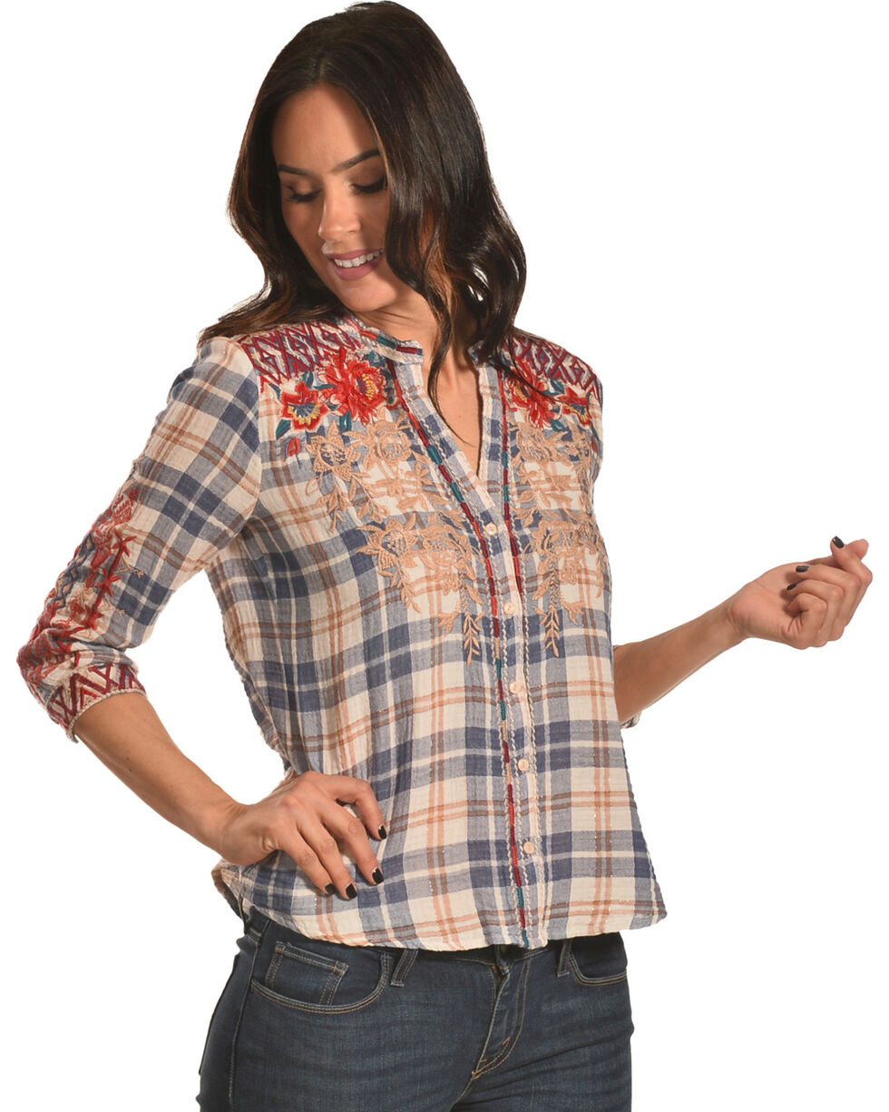Johnny Was Women's Veronica Embroidered Plaid Button Down Shirt, Multi, hi-res