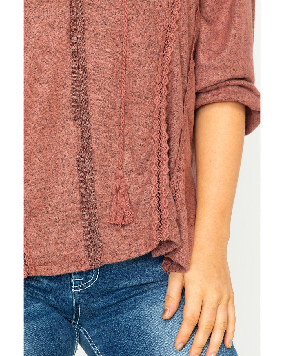 Miss Me Women's Tasseled Up Long Sleeve Top, Rust Copper, hi-res