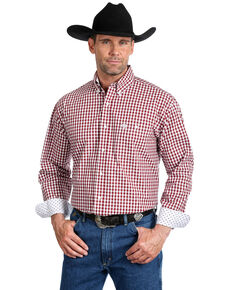 George Strait by Wrangler Men's Burgundy Small Plaid Long Sleeve Western Shirt - Tall , Burgundy, hi-res
