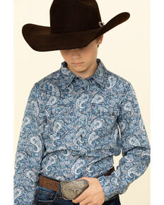 Cody James Boys' Paisley Lake Long Sleeve Western Shirt , Blue, hi-res