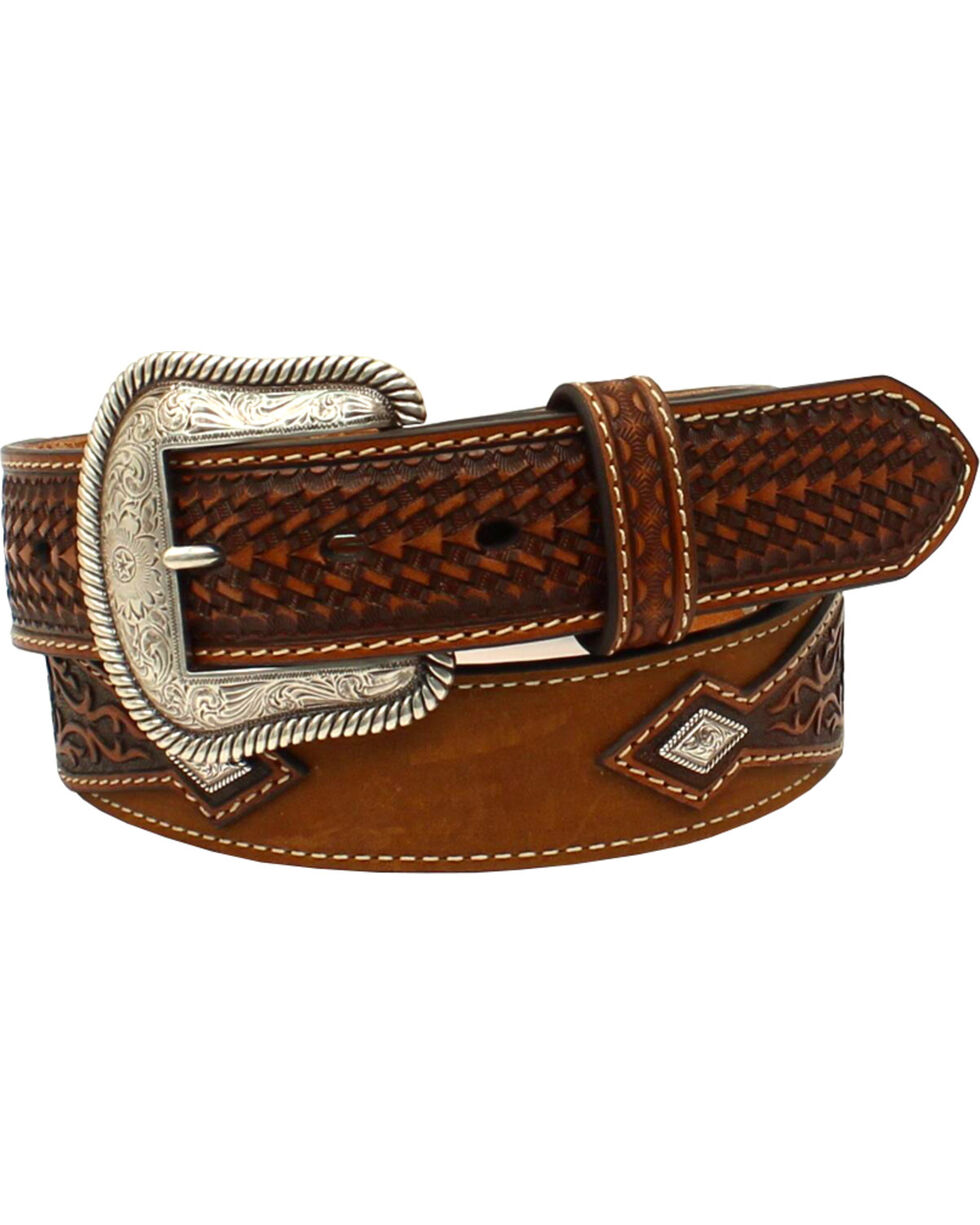 Nocona Men's Embossed Diamond Belt , Medium Brown, hi-res