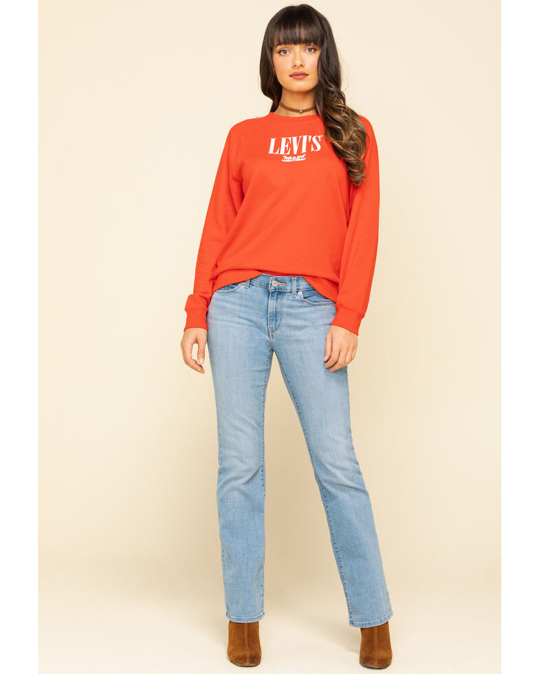 Levi's Women's Logo Relaxed Crewneck Sweatshirt, Red, hi-res