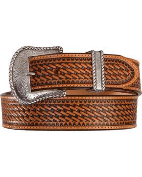 Justin Bronco Basketweave Leather Belt, Tan, hi-res