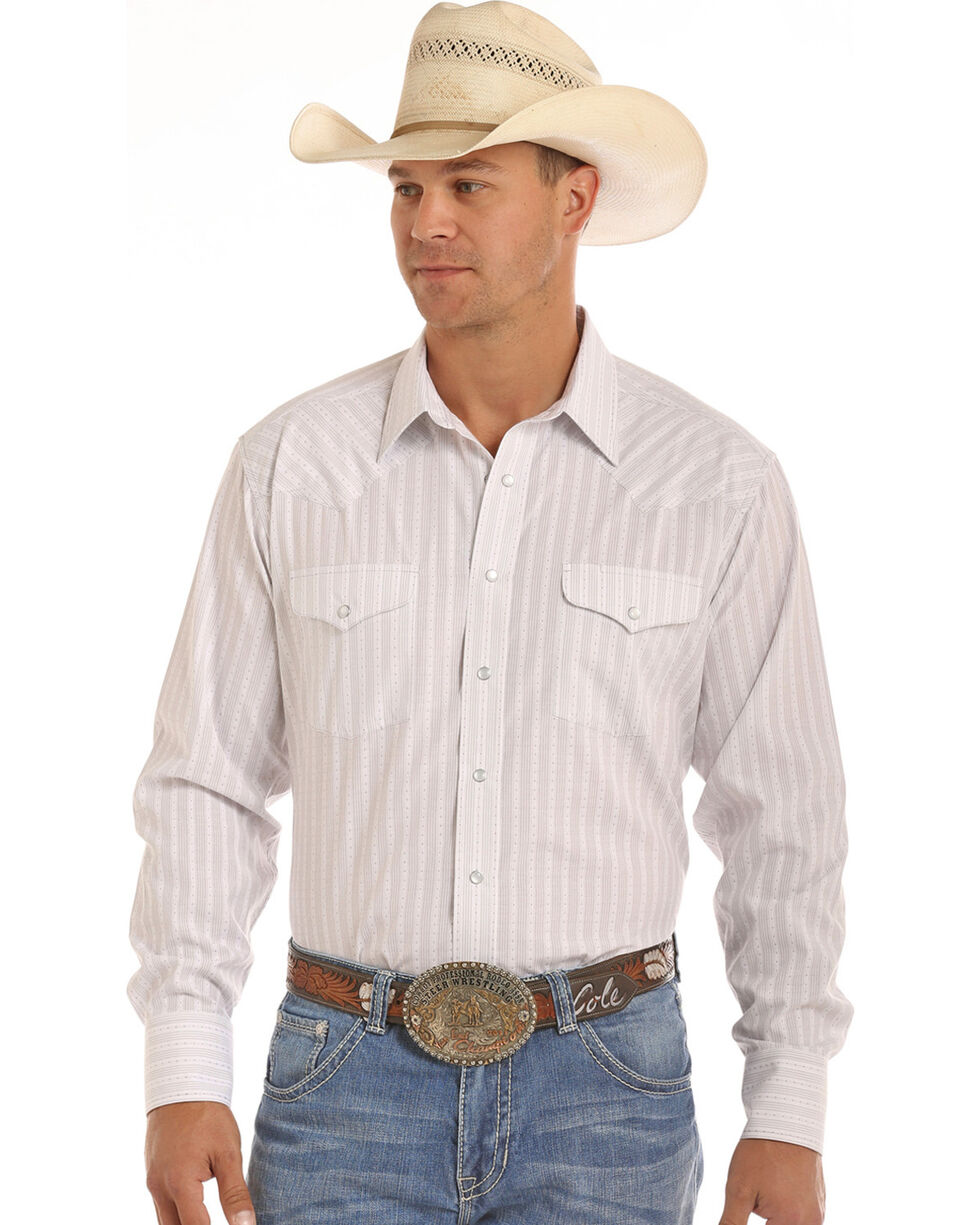 Panhandle Men's Grey Dobby Stripe Print Shirt , Grey, hi-res