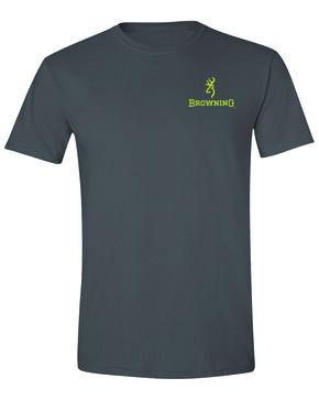Browning Men's Xtra Buckmark Camo Logo Graphic T-Shirt , Dark Grey, hi-res