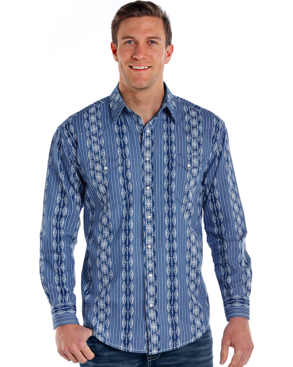 Rough Stock by Panhandle Men's Kinlichee Antique Print Long Sleeve Snap Shirt, Indigo, hi-res