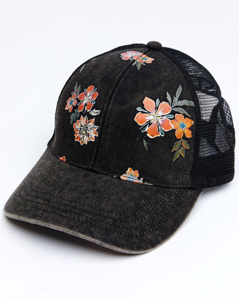 Shyanne Women's Wildflower Print Mesh-Back Ball Cap, Black, hi-res