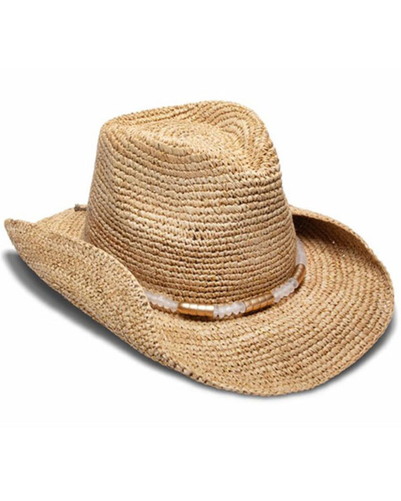 Nikki Beach Women's Chrysta Crochet Raffia Straw Western Hat , Natural, hi-res