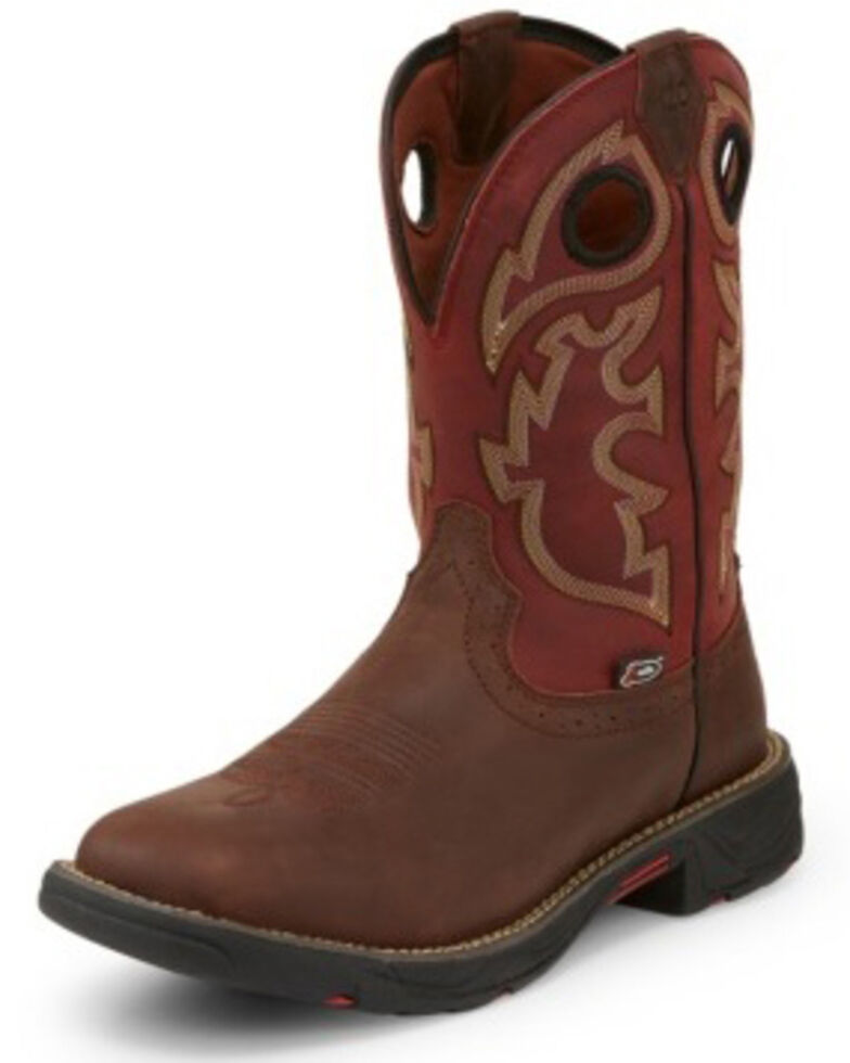 Justin Men's Stampede Fiesta Western Work Boots - Square Toe, Brown, hi-res