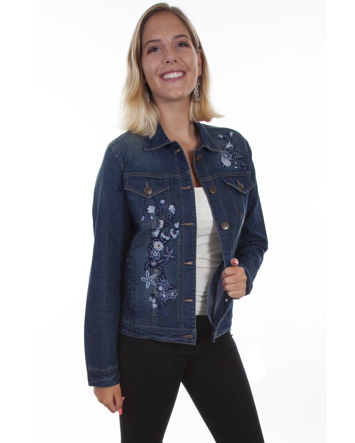 Scully Womens Honey Creek by Denim Lace Back Vest Blue Large