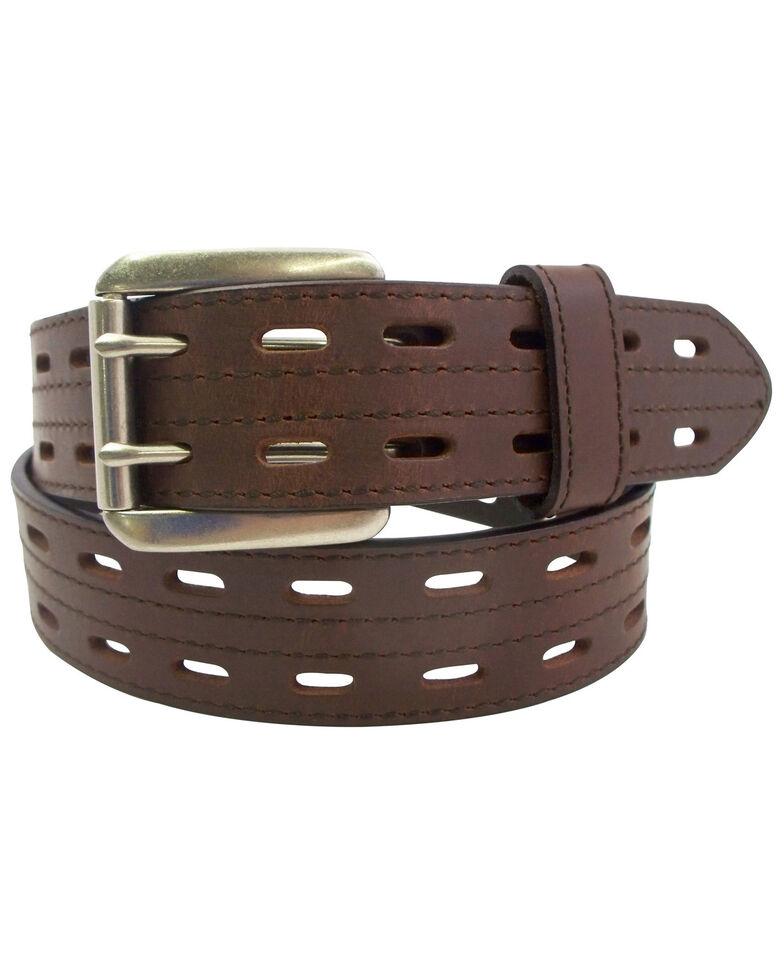 Danbury Men's Leather Prong Rollar Bar Work Belt , Brown, hi-res