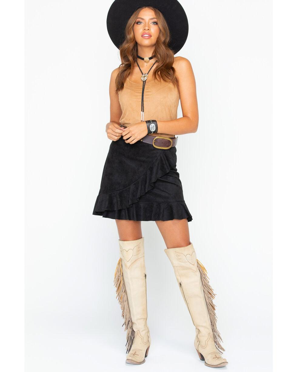 BB Dakota Women's Faux Suede Ruffle Wrap Skirt , Black, hi-res