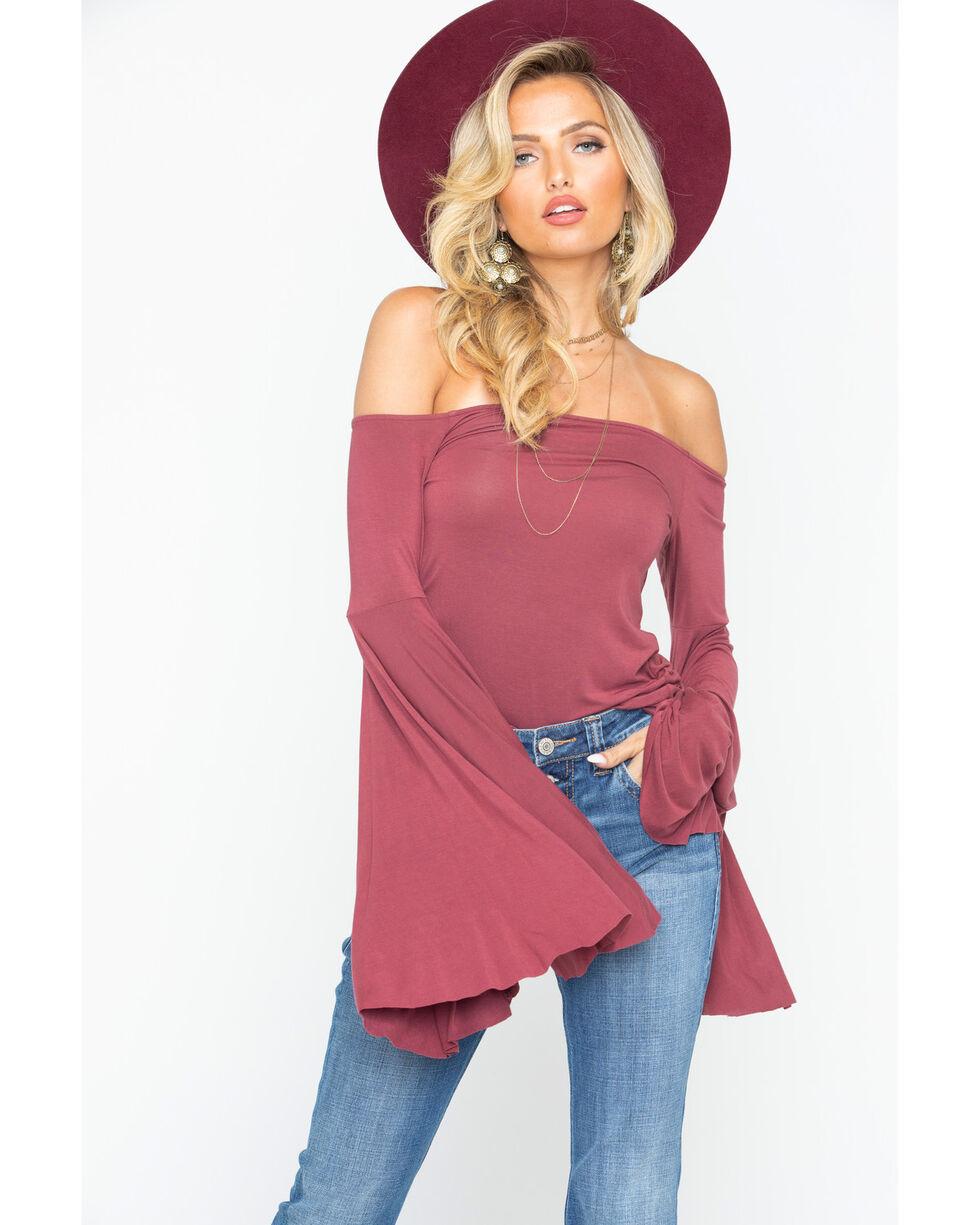 Rock & Roll Cowgirl Women's Mauve Off The Shoulder Knit Top , Mauve, hi-res