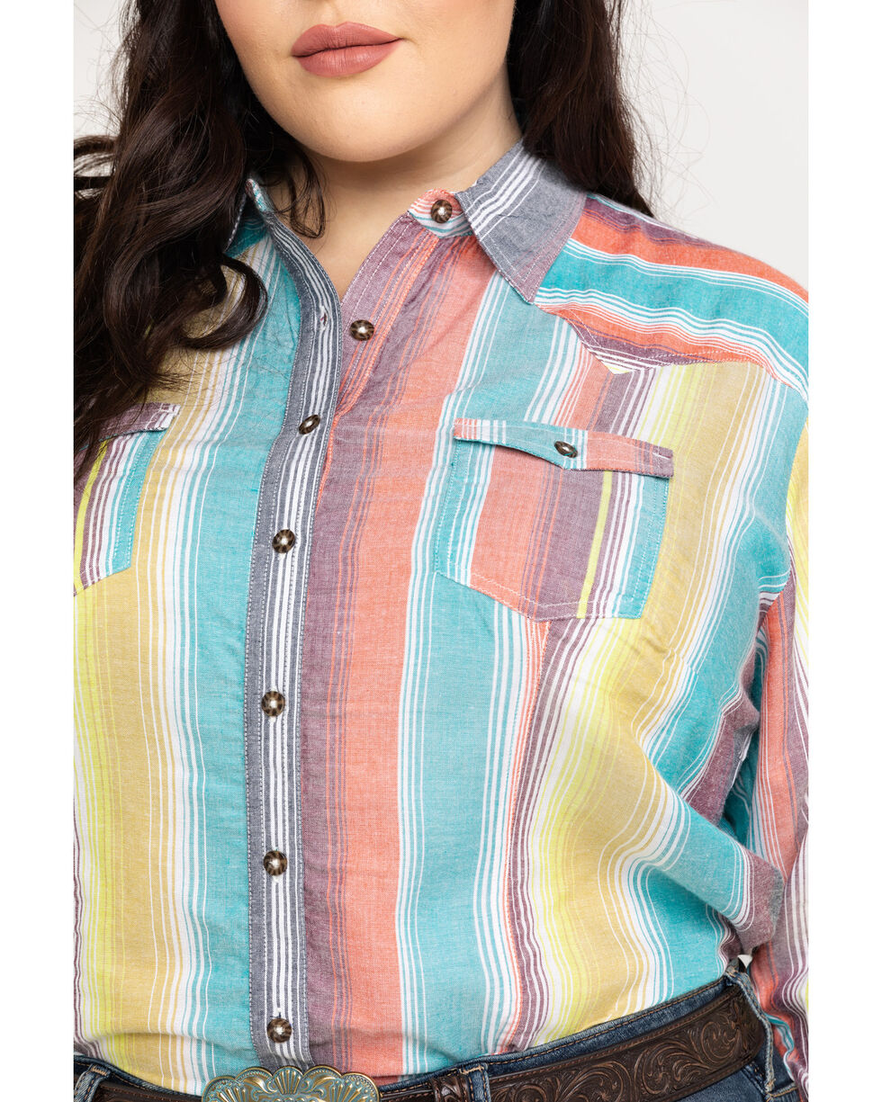 White Label by Panhandle Women's Serape Challis Button Up Long Sleeve Shirt - Plus, Multi, hi-res