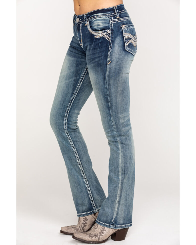 Grace In LA Women's Rhinestone Embroidered Boot Cut Jeans, Blue, hi-res