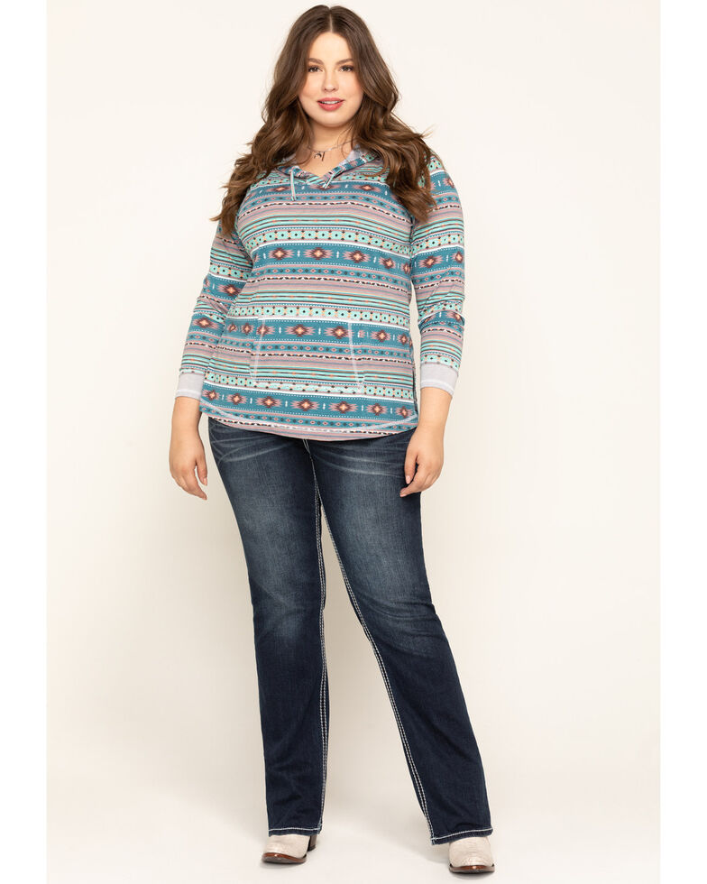 White Label by Panhandle Women's Blue Aztec Hoodie , Blue, hi-res