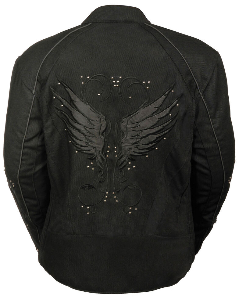Milwaukee Leather Women's Textile Jacket w/ Stud & Wings Detailing - 5X, , hi-res