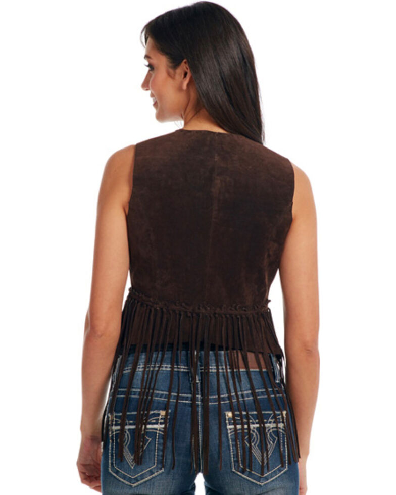 Cripple Creek Women's Mocha Brown Hand-Laced and Fringed Leather Vest , Dark Brown, hi-res