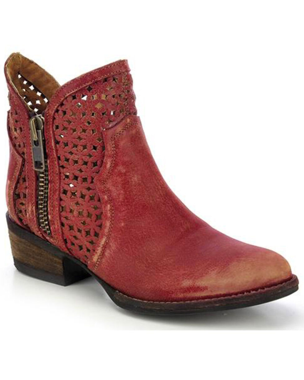 Circle G Women's Cut Out Fashion Booties, Red, hi-res
