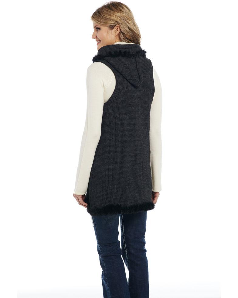 Cripple Creek Women's Solid Rabbit Trim Vest, Black, hi-res