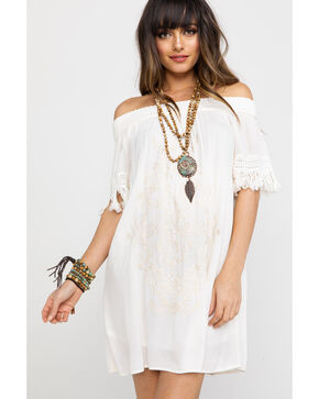 Jolt Women's Embroidered Off Shoulder Tassel Trimmed Sleeve Dress , Ivory, hi-res