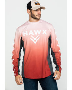 Hawx® Men's Red Camo Moto Chest Logo Performance Long Sleeve Work T-Shirt - Tall , Red, hi-res