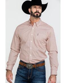 585e5640 Cinch Men's Coral Modern Geo Print Long Sleeve Western Shirt