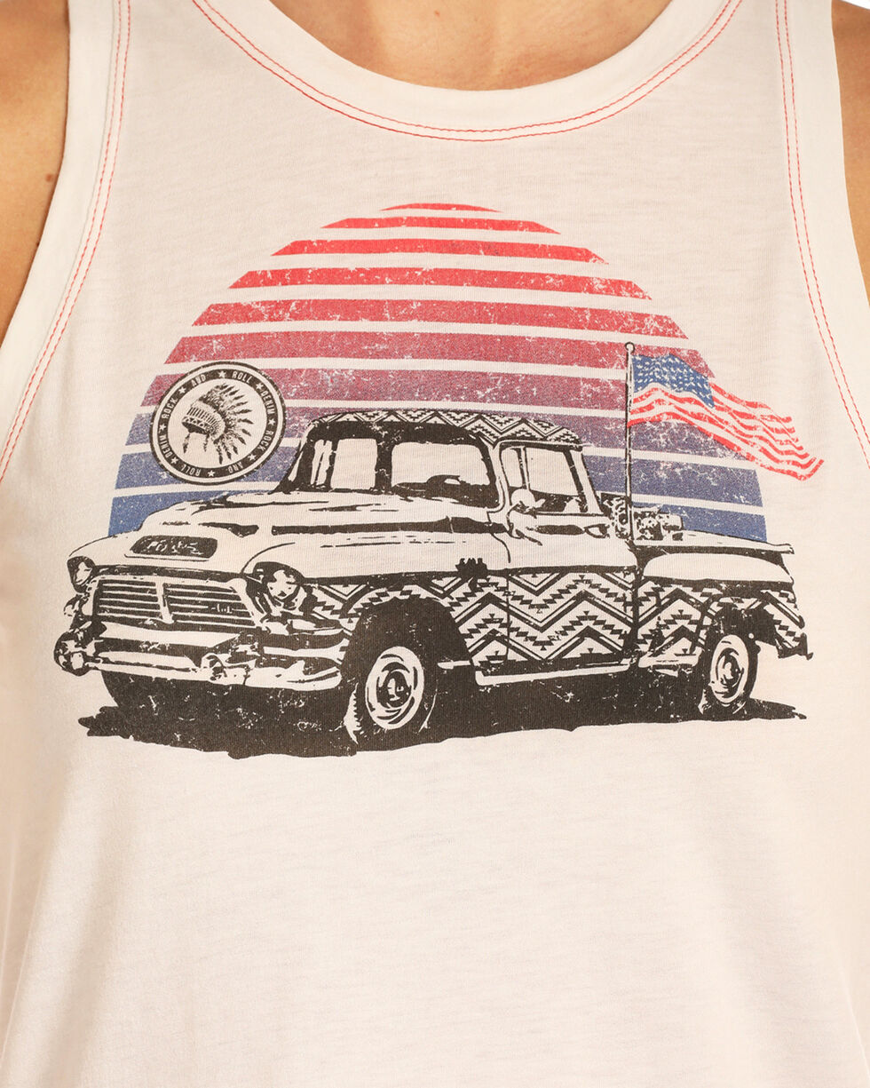 Rock & Roll Cowgirl Women's Americana Truck Tank, White, hi-res