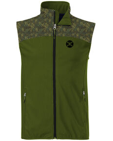 HOOey Men's Green Softshell Zip-Front Vest , Olive, hi-res