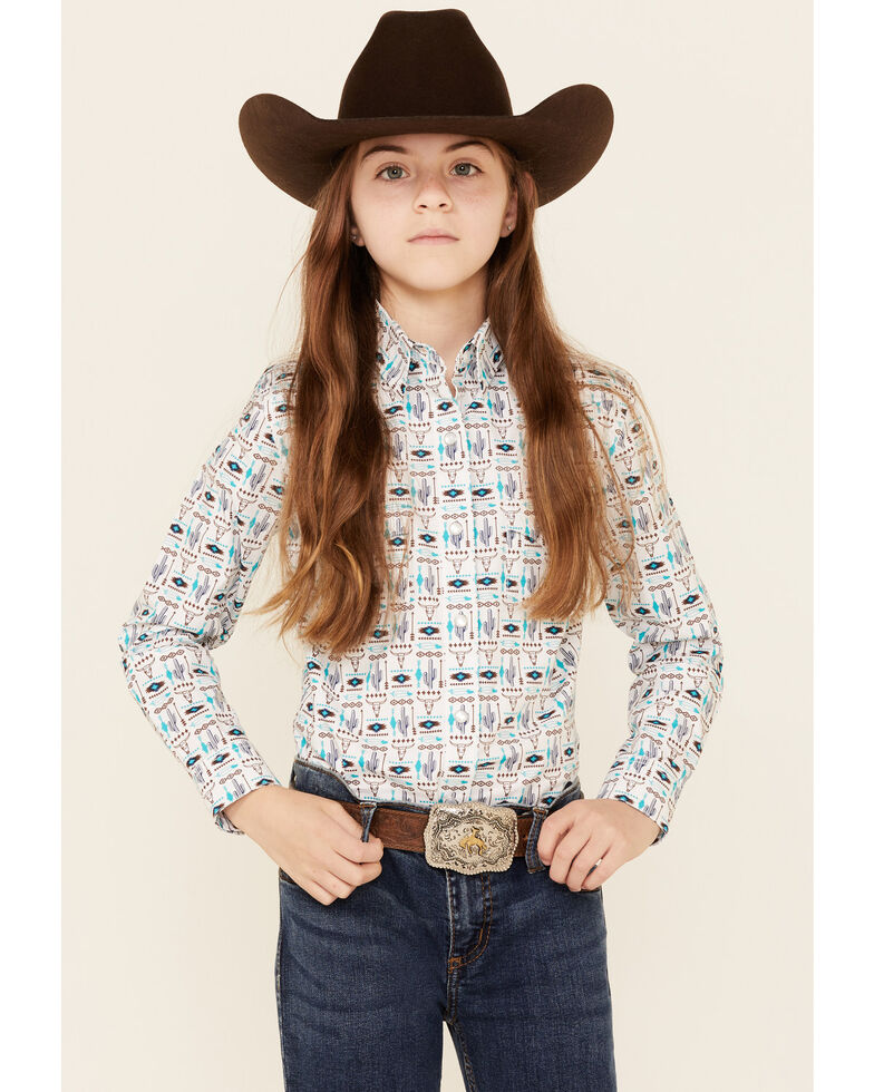 Rough Stock By Panhandle Girls' Cactus Aztec Print Long Sleeve Snap Western Shirt , White, hi-res