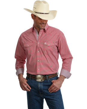 George Strait by Wrangler Men's Red Troubadour Geo Print Long Sleeve Western Shirt, Red, hi-res