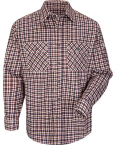 Bulwark Men's Burgundy Plaid Flame Resistant Uniform Shirt , Burgundy, hi-res